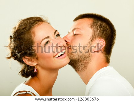 Young man and woman together isolated on white background