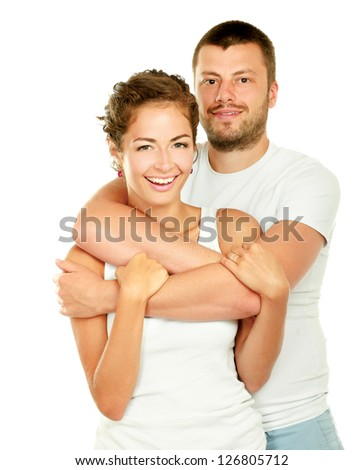 Young man and woman together isolated on white background - stock photo