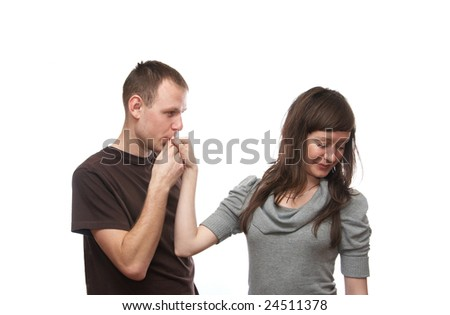 Young man and  young woman on the white background