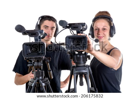 young man and young woman with  camera on white background