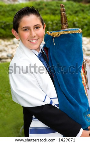Young Man at his Bar Mitzvah - stock photo