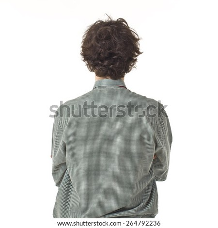 Young Man Back Portrait With Curly Hair.