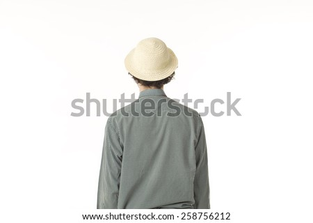 Young Man Back Portrait With Hat. - stock photo