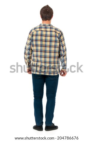 Young man back view, isolated on white background  - stock photo
