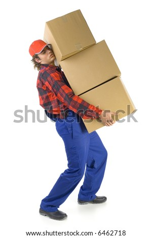 Young man carrying boxes. Isolated on white background. Side view - stock photo