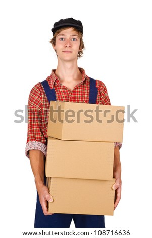 Young man carrying packages - isolated - stock photo