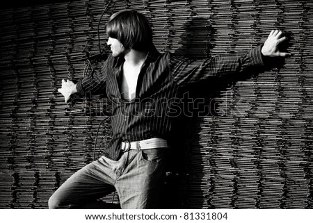young man casual wear, outdoor bw - stock photo