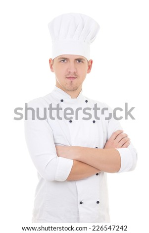 young man chef isolated on white background - stock photo