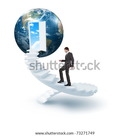 young man climbs the ladder of success and a virtual career. Collage. - stock photo
