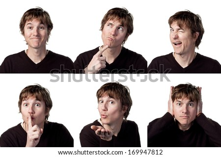 Young man collage, 6 different faces - stock photo