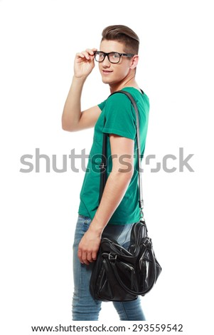 young man college student with back pack and glasses leaving - stock photo