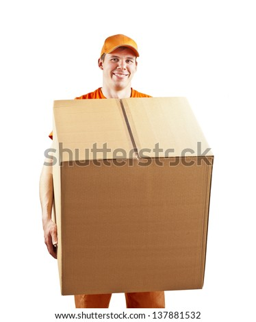 Young man courier in orange holding on hands a box isolated on white - stock photo