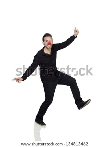 Young Man Dancing With Clown Nose Over White Background - stock photo