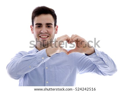 young man doing a heart with his hands