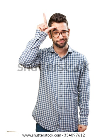 young man doing a looser gesture - stock photo
