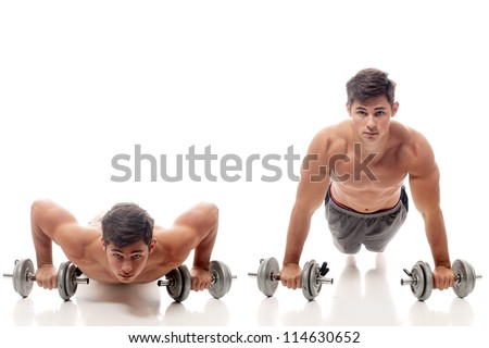Young man doing pushups. Studio shot over white. - stock photo