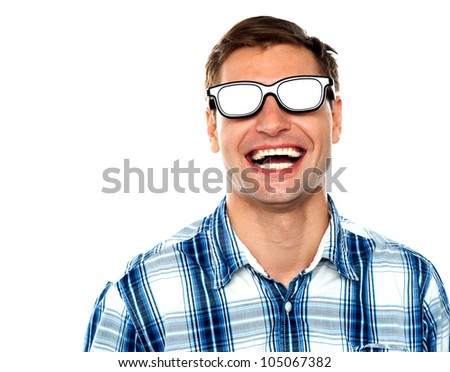 Young man enjoying himself after wearing shiny goggles - stock photo