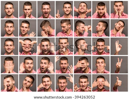 Young man face expressions composite on dark grey background. Handsome young man making faces in studio. - stock photo