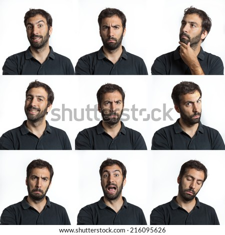 young man face expressions with beard and moustaches composite isolated  - stock photo