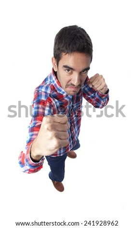 Young man fight gesture - stock photo
