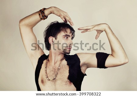Young man flamenco dancer isolated on awhite background