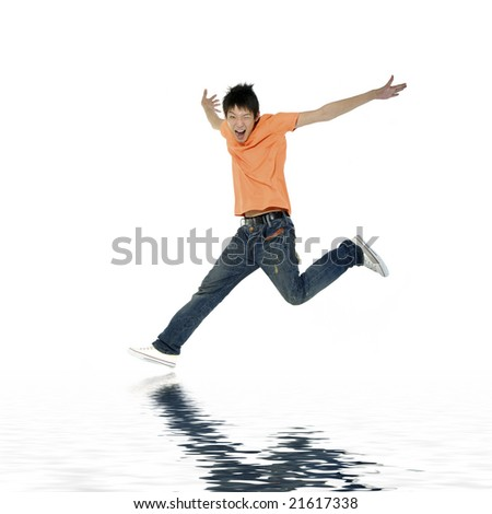 Young man flying in the air. with reflection