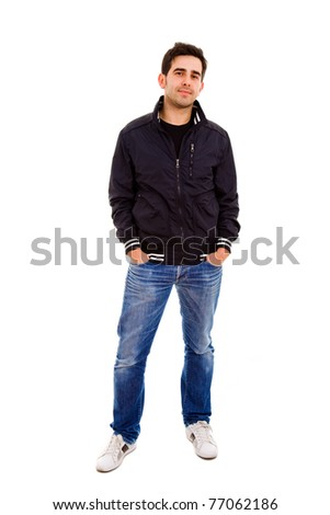 young man full body in a white background - stock photo