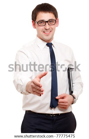 Young man giving handshake. Focused on hand. Isolated over white. - stock photo
