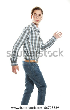 young man going over white - stock photo