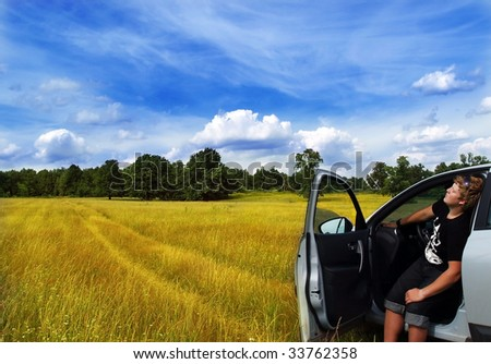 young man have rest - stock photo