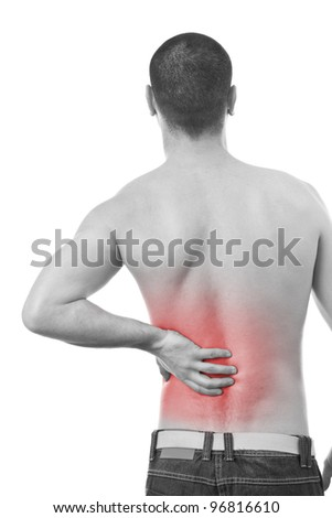 Young man having a Back pain. Isolated on white background. - stock photo