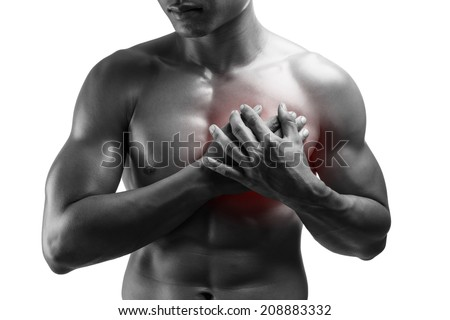 Young man having heart attack ,Young man suffering from chest pain  - stock photo