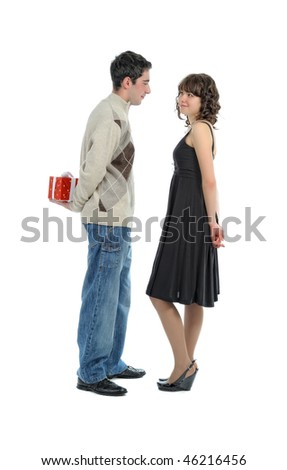 young  man  hides behind surprise for his girl (isolated on white) - stock photo