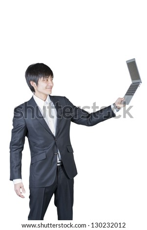 Young man hold laptop and looking at the screen
