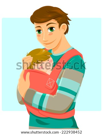 young man holding a baby in a baby carrier - stock photo