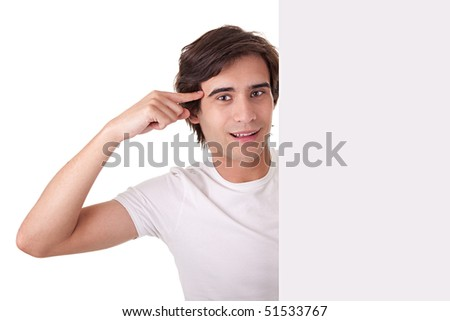 Young man holding a blank billboard,gesturing have an idea, on white background. Studio shot - stock photo