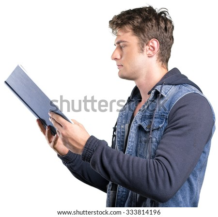 Young man holding a book