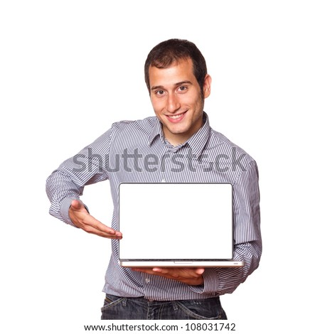 Young Man Holding a Computer with Blank Screen