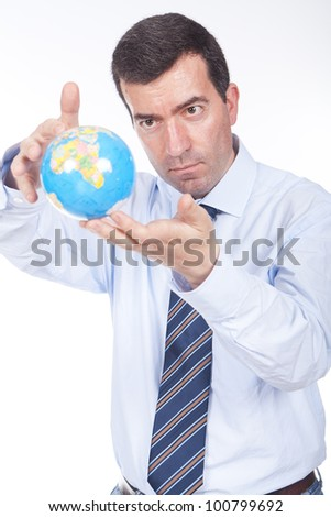 young man holding a globe on his hand - stock photo