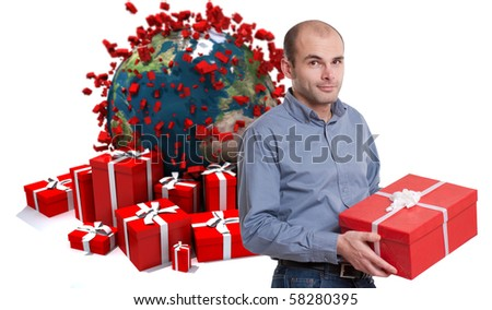 Young man holding a present against a background of gift boxes and the Earth