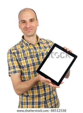Young man Holding a Touch Pad Tablet PC on Isolated White Background - stock photo