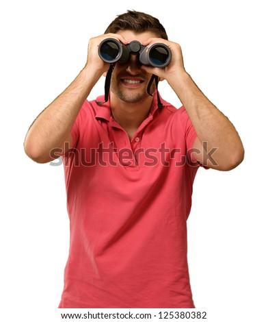 Young Man Holding Binoculars Isolated On White Background - stock photo