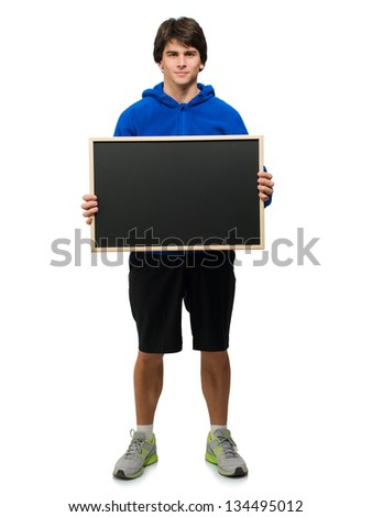 Young Man Holding Black Board Isolated On White Background - stock photo