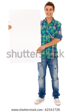 Young man holding blank paper - stock photo