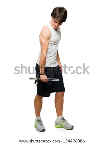 Young Man Holding Exercise Equipment Isolated On White Background