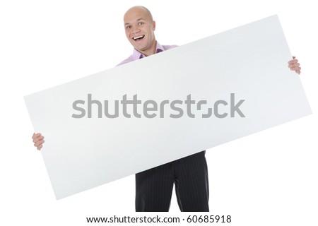 young man holding large blank. Isolated on white background - stock photo