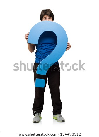 Young Man Holding Question Mark Isolated On White Background - stock photo