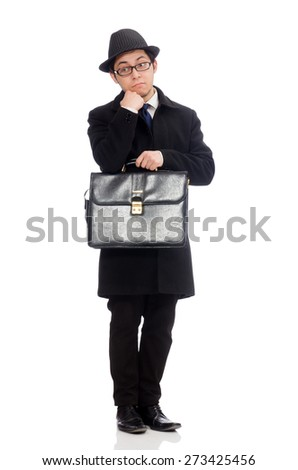 Young man holding suitcase isolated on white - stock photo
