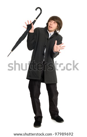 Young man in a panic - stock photo