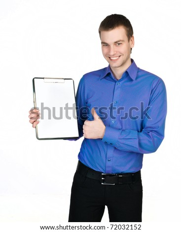 young man in a purple shirt with a tablet for notes